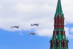Russland, Moskau, am 7. Mai 2016 - Wiederholung der Parade auf rotem Squ lizenzfreies stockbild