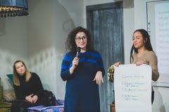 Russland, Nowosibirsk, Geschäftskonferenz in der Dachbodenbiene im Januar 2017 Lizenzfreie Stockfotografie