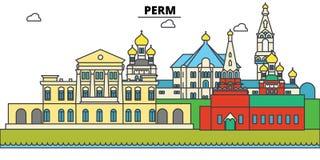Russland, Perm Stadtskyline, Architektur, Gebäude, Straßen, Schattenbild, Landschaft, Panorama, Marksteine editable stock abbildung