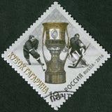 RUSSLAND - 2016: Shows Gagarin-Cup, die kontinentale Hockey-Liga Lizenzfreie Stockfotografie