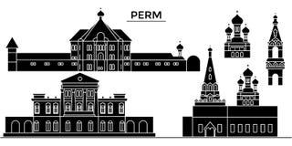 Russland, städtische Skyline der Dauerwellearchitektur mit Marksteinen, Stadtbild, Gebäude, Häuser, Vektorstadtlandschaft, editab lizenzfreie abbildung