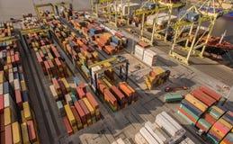 Russland, St Petersburg, im Mai 2017 - Vogelperspektive des Containerbahnhofs Lizenzfreies Stockbild