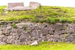 Russland, St Petersburg, Priozersk, im August 2016: Steinwand des Korela-Festungs-Museums lizenzfreie stockfotos
