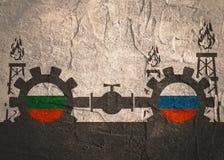 Russland- und Bulgarien-Flaggen auf Gängen Lizenzfreie Stockbilder