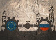 Russland- und Gemeinschaftsflaggen auf Gängen Lizenzfreie Stockbilder