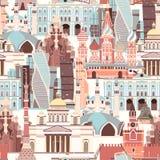 Russland-Vektorkartenillustration Atlas des Handabgehobenen betrages mit russischen Marksteinen, lizenzfreie abbildung