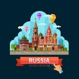 Russland-Vektorlogo-Designschablone Moskau-Stadt oder Stockfoto