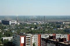 Russland. Wolgagrad. Eine Art auf Stadt von der Höhe lizenzfreies stockbild