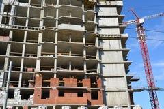 Russland, Yaroslavl- 29. März 2016 Bau des mehrstöckigen Wohngebäudes Lizenzfreie Stockfotos