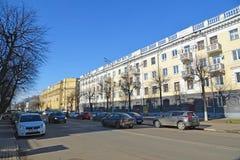 Russland, Yaroslavl- 29. März 2016 Wohngebäude von sowjetischen Zeiten auf Sovetskaya-Straße lizenzfreie stockfotos