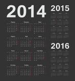 Russo 2014, 2015, calendários de um vetor de 2016 anos Foto de Stock
