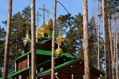 Russo de madeira Christian Church ortodoxo de St Sergius de Radonezh no monastério de Ganina Yama Imagens de Stock Royalty Free