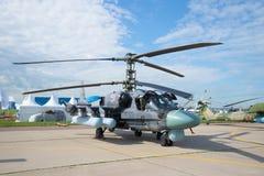` Russo dell'alligatore del ` dell'attacco con elicottero Ka-52 sullo show aereo MAKS-2017 Fotografie Stock Libere da Diritti