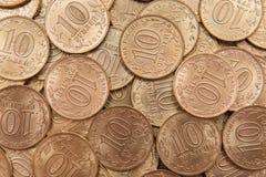 Russo dieci rubli di campione della moneta 2015 Fotografia Stock