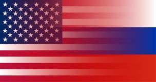 Russo e bandiera U.S.A. nella sovrapposizione di pendenza Vettore royalty illustrazione gratis