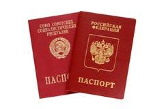 Russo e passaportes velhos de URSS Fotografia de Stock Royalty Free