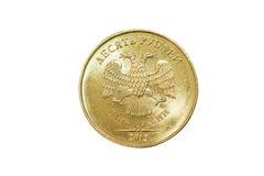 Russo isolato 10 rubli di moneta Fotografie Stock