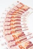 Russo lle fatture dalle 5000 rubli Fotografia Stock Libera da Diritti