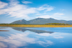 Russo, Primorye, reflexão azul fotos de stock royalty free