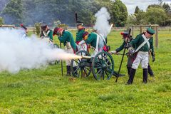 Russo Prussian Artillery, Napoleonic Wars. Royalty Free Stock Photo