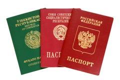 Russo, Uzbekistan e passaportes velhos de URSS Fotografia de Stock