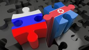 Russsia and North Korea flags on puzzle pieces. Political relationship concept. 3D rendering vector illustration