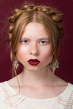 Russsian styled beauty portrait. Of young girl looking on camera stock photos