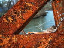 Rust. Y iron at the bank of the river Royalty Free Stock Photo