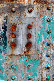 Rust. On the colorful iron plate royalty free stock images