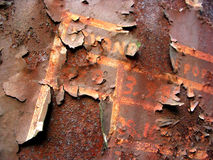 Rust. On the old train stock image