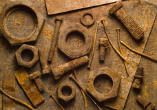 Rust. Background from rust bolt & nut & nail royalty free stock photos