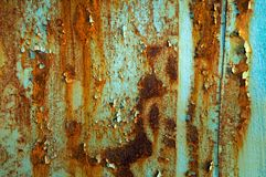 Rust. Metal texture with blue paint and rust Royalty Free Stock Images