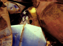 RUST ABSTRACT ART AUTO BODY RUSTY BARREL JUNK YARD Stock Photos