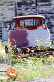 Rust & barn boards. The back of a rusty old truck sitting in wild flowers in front of a wall of old barn boards Royalty Free Stock Image