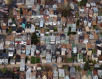 Rust Belt Row Home Aerial. Aerial photo of rust belt row homes in a large midwest US city Stock Photo