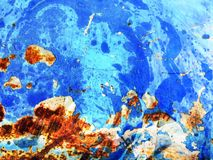 Rust on blue texture. Metal stock images