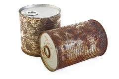 Rust cans at on white background Stock Photos