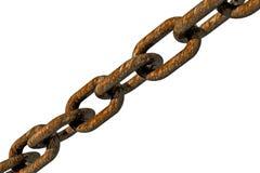Rust chain in diagonal. Rust chain in diagonal on white background Royalty Free Stock Photo