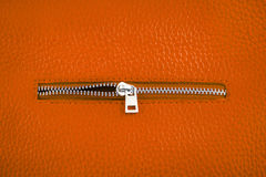 Rust color leather with zipper. Stock Photos