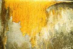Rust of concrete surface was damaged by groundwater. Rust and erosion of concrete wall surface was damaged by groundwater stock photography