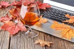 Rust in de avond na het werk een glas cognac met fruit dichtbij stock fotografie