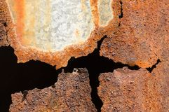 Rust on different colors iron background stock image