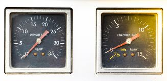 Rust and dirt on a pressure gauge and compound gauge to a old fire truck. stock images