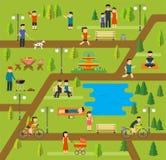 Rust in een openbaar park, die in het park, picknick die, het biking kamperen, de hond in park, yogazittingen lopen, die in park  royalty-vrije illustratie