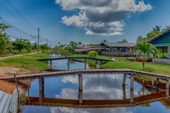 Rust en Werk. Housing and bridges at Rust en Werk plantation, Suriname stock photography
