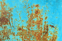 Rust and grunge aqua blue metal surface texture Royalty Free Stock Images