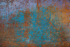Rust Grunge Background. Rusty sheet metal, rust on the metal sheet painted in blue, rust points. Old rusty steel metal with dotted rust. Great abstract stock images