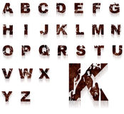 Rust grungy alphabet. Complete alphabet with rusty and grungy letters Royalty Free Stock Photos