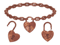 Rust heart lock pendant isolated necklace Royalty Free Stock Images