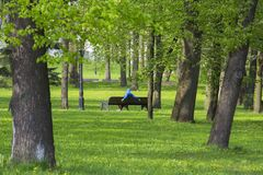 rust in het park op een bank in Minsk, Wit-Rusland royalty-vrije stock fotografie